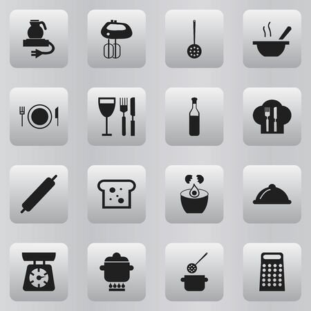 rasp: Set Of 16 Editable Kitchen Icons. Includes Symbols Such As Food Libra, Break Eggs, Bowl And More. Can Be Used For Web, Mobile, UI And Infographic Design. Illustration