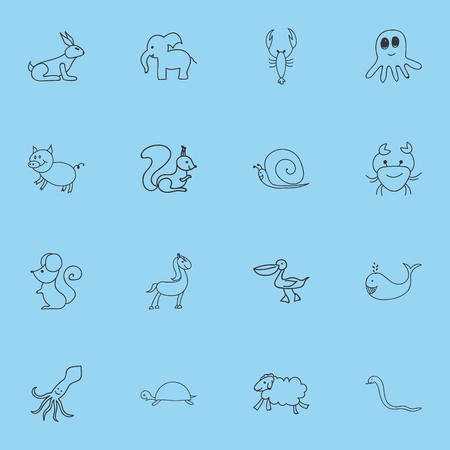 Set Of 16 Editable Zoology Icons. Includes Symbols Such As Serpent, Pelican, Rat And More. Can Be Used For Web, Mobile, UI And Infographic Design.