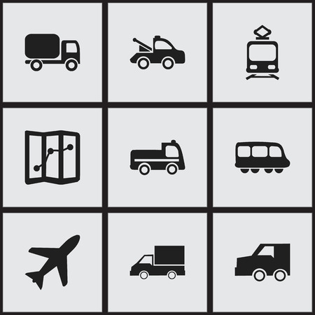 conveyor rail: Set Of 9 Editable Transportation Icons. Includes Symbols Such As Service Car, Camion, Auto And More. Can Be Used For Web, Mobile, UI And Infographic Design.