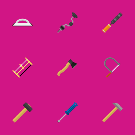 rasp: Set Of 9 Editable Equipment Icons. Includes Symbols Such As Emery Paper, Rasp, Boer And More. Can Be Used For Web, Mobile, UI And Infographic Design.