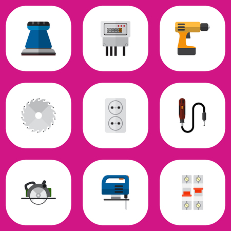 cut off saw: Set Of 9 Editable Electrical Icons. Includes Symbols Such As Electric, Circular, Buzzsaw And More. Can Be Used For Web, Mobile, UI And Infographic Design.
