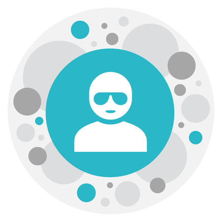 Vector Illustration Of Game Symbol On Man In Glasses Icon. Premium Quality Isolated Thief Element In Trendy Flat Style.