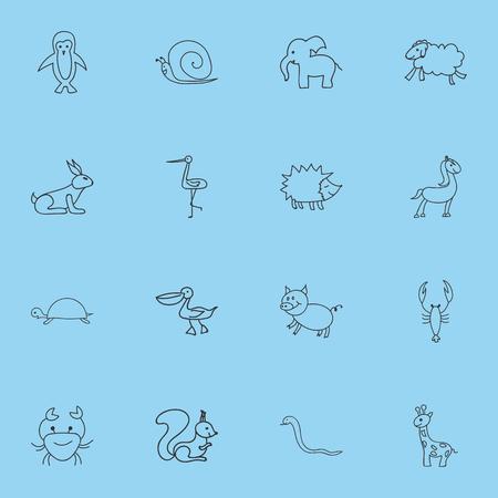 16 편집 가능한 동물원 아이콘의 집합입니다. Cancer, Tall Animal, Shadoof 등의 기호가 포함되어 있습니다. 웹, 모바일, UI 및 인포 그래픽 디자인에 사용할 수  일러스트
