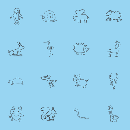 Set Of 16 Editable Zoo Icons. Includes Symbols Such As Cancer, Tall Animal, Shadoof And More. Can Be Used For Web, Mobile, UI And Infographic Design.