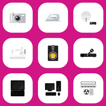 Set Of 9 Editable Technology Icons. Includes Symbols Such As Sewing Machine, Megaphone, Microphone And More. Can Be Used For Web, Mobile, UI And Infographic Design.