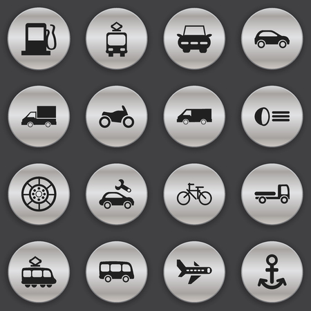 luminary: Set Of 16 Editable Transport Icons. Includes Symbols Such As Shipping, Luminary, Van And More. Can Be Used For Web, Mobile, UI And Infographic Design.