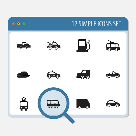 camion: Set Of 12 Editable Transport Icons. Includes Symbols Such As Auto, Yacht, Omnibus And More. Can Be Used For Web, Mobile, UI And Infographic Design. Illustration