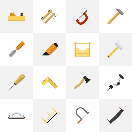 Set Of 16 Editable Apparatus Icons. Includes Symbols Such As Bit, Axe, Knife And More. Can Be Used For Web, Mobile, UI And Infographic Design. Illustration