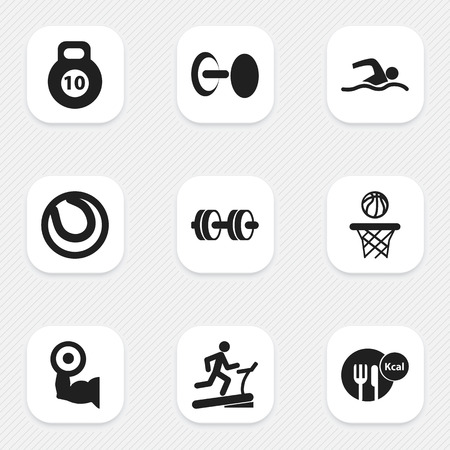 Set Of 9 Editable Lifestyle Icons. Includes Symbols Such As Basketball, Training Pool, Healthy Food And More. Can Be Used For Web, Mobile, UI And Infographic Design.