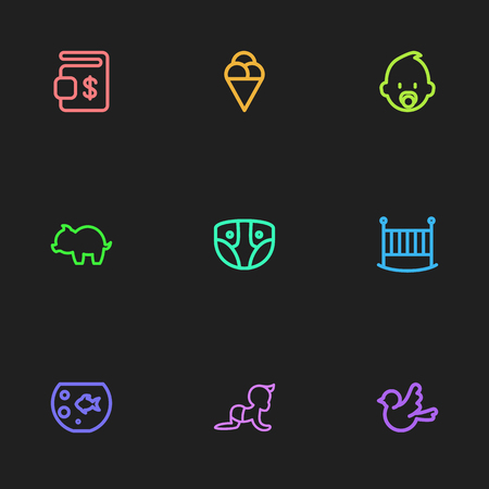 Set Of 9 Editable Folks Icons. Includes Symbols Such As Fish Tank, Bedstead, Nappy And More. Can Be Used For Web, Mobile, UI And Infographic Design. Ilustração