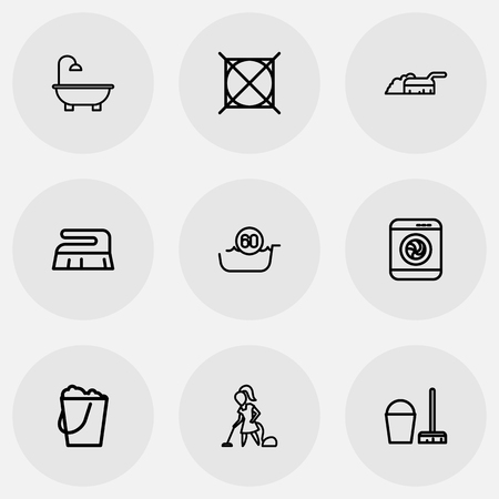 Set Of 9 Editable Cleaning Icons. Includes Symbols Such As Bucketful, Attention, Washer Machine And More. Can Be Used For Web, Mobile, UI And Infographic Design. Illustration