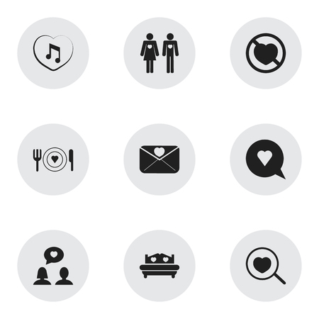 Set Of 9 Editable Passion Icons. Includes Symbols Such As Dishes, Mattress, Loupe And More. Can Be Used For Web, Mobile, UI And Infographic Design.