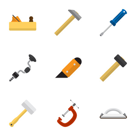 Set Of 9 Editable Tools Icons. Includes Symbols Such As Jointer, Tool, Hammer And More. Can Be Used For Web, Mobile, UI And Infographic Design. Illustration