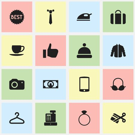 Set Of 16 Editable Trade Icons. Includes Symbols Such As Okay, Scissors, Sweater And More. Can Be Used For Web, Mobile, UI And Infographic Design.