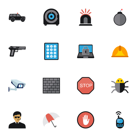 aegis: Set Of 16 Editable Procuring Icons. Includes Symbols Such As Caution, Hatchback, Password And More. Can Be Used For Web, Mobile, UI And Infographic Design.