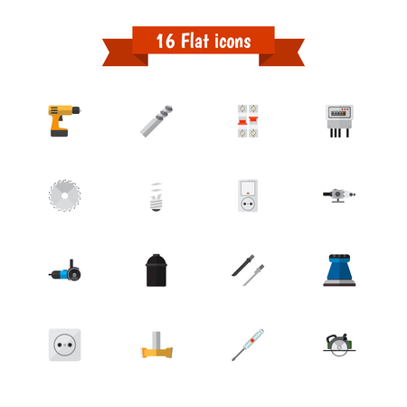 Set Of 16 Editable Instruments Icons. Includes Symbols Such As Orifice, Electric, Turn-Screw And More. Can Be Used For Web, Mobile, UI And Infographic Design.