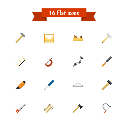Set Of 16 Editable Tools Icons. Includes Symbols Such As Handsaw, Hammer , Nag. Can Be Used For Web, Mobile, UI And Infographic Design. Illustration