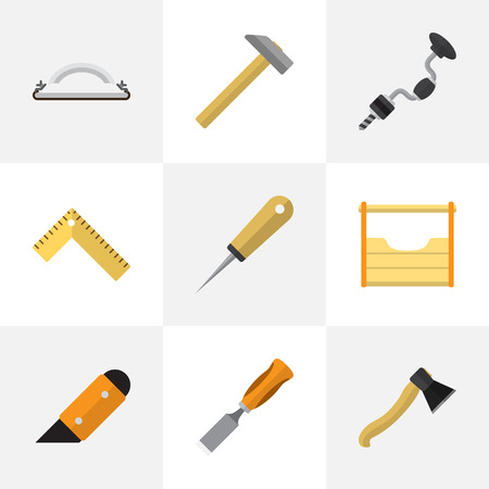 Set Of 9 Editable Apparatus Icons. Includes Symbols Such As Hammer, Instruments, Emery Paper And More. Can Be Used For Web, Mobile, UI And Infographic Design.