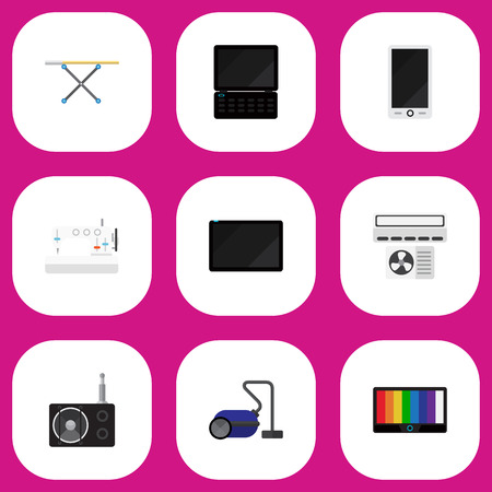 palmtop: Set Of 9 Editable Tech Icons. Includes Symbols Such As Palmtop, Tuner, Sweeper And More. Can Be Used For Web, Mobile, UI And Infographic Design. Illustration