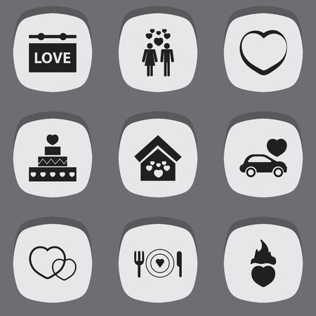 Set Of 9 Editable Heart Icons. Includes Symbols Such As Romantic, Beau, Board And More. Can Be Used For Web, Mobile, UI And Infographic Design.