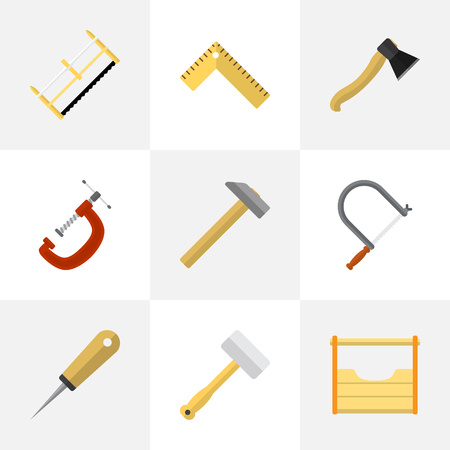 Set Of 9 Editable Tools Icons. Includes Symbols Such As Hammer, Hacksaw, Meter And More. Can Be Used For Web, Mobile, UI And Infographic Design. Illustration