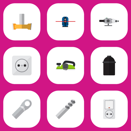 Set Of 9 Editable Electric Icons. Includes Symbols Such As Connection, Holder, Auger And More. Can Be Used For Web, Mobile, UI And Infographic Design.