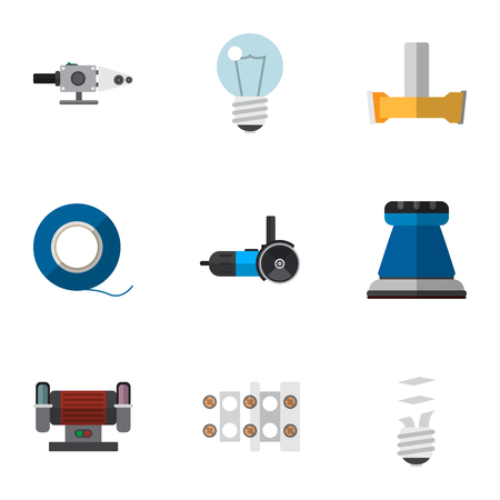 Set Of 9 Editable Electrical Icons. Includes Symbols Such As Orifice, Bulb, Terminal Block And More. Can Be Used For Web, Mobile, UI And Infographic Design. Ilustração