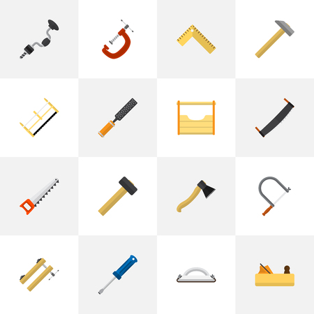 Set Of 16 Editable Apparatus Icons. Includes Symbols Such As Clinch, Jointer, Clamp And More. Can Be Used For Web, Mobile, UI And Infographic Design.