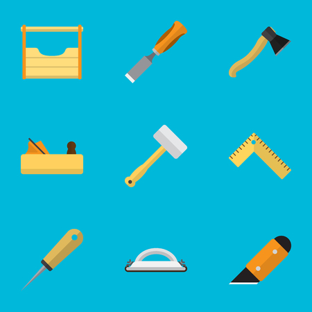 Set Of 9 Editable Tools Icons. Includes Symbols Such As Jointer, Axe, Emery Paper And More. Can Be Used For Web, Mobile, UI And Infographic Design.