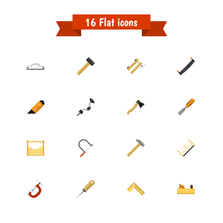 Set Of 16 Editable Equipment Icons. Includes Symbols Such As Knife, Jointer, Bit And More. Can Be Used For Web, Mobile, UI And Infographic Design. Illustration