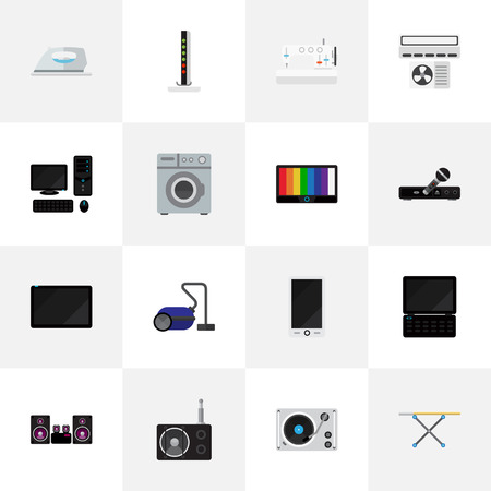 Set Of 16 Editable Tech Icons. Includes Symbols Such As Personal Computer, Sewing Machine, Notebook And More. Can Be Used For Web, Mobile, UI And Infographic Design. Çizim
