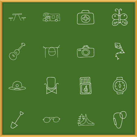 dangerous construction: Set Of 16 Editable Travel Icons. Includes Symbols Such As Beach Hat, Caravan, Flying Toy And More. Can Be Used For Web, Mobile, UI And Infographic Design.