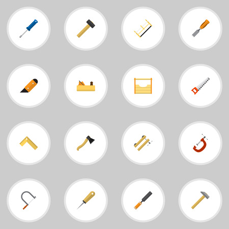 16 편집 가능한 악기 아이콘의 집합입니다. 클램프, 망치, 해머 등의 기호가 포함되어 있습니다. 웹, 모바일, UI 및 인포 그래픽 디자인에 사용할 수 있습 일러스트