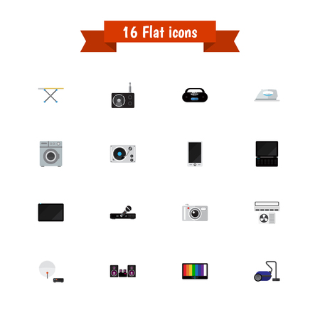 led: Set Of 16 Editable Technology Icons. Includes Symbols Such As Microphone, Camera, Tuner And More. Can Be Used For Web, Mobile, UI And Infographic Design. Illustration