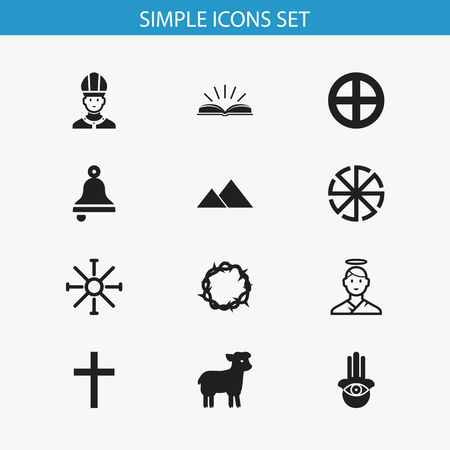 persuasion: Set Of 12 Editable Religion Icons. Includes Symbols Such As Solar Emblem, Eye On Hand , Christ Wreath. Can Be Used For Web, Mobile, UI And Infographic Design. Illustration
