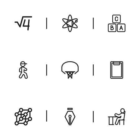 Set Of 9 Editable Science Icons. Includes Symbols Such As A B C, Inkpen, Basketball And More. Can Be Used For Web, Mobile, UI And Infographic Design.