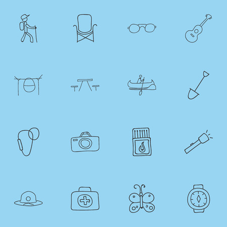 Set Of 16 Editable Trip Icons. Includes Symbols Such As Flashlight, Campfire Cooking, Shovel And More. Can Be Used For Web, Mobile, UI And Infographic Design.