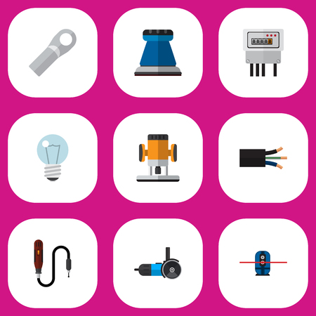Set Of 9 Editable Electric Icons. Includes Symbols Such As Emery Paper, Connection, Bulb And More. Can Be Used For Web, Mobile, UI And Infographic Design.