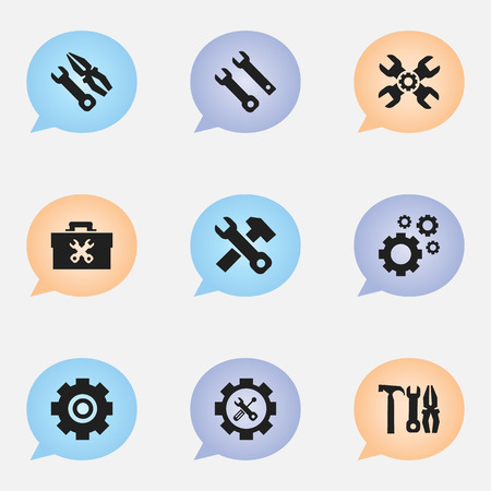 rackwheel: Set Of 9 Editable Service Icons. Includes Symbols Such As Cogwheels, Screwdriver Wrench, Maintenance And More. Can Be Used For Web, Mobile, UI And Infographic Design.