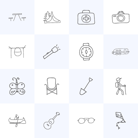 Set Of 16 Editable Trip Icons. Includes Symbols Such As Beauty Insect, Medical Kit, Campfire Cooking And More. Can Be Used For Web, Mobile, UI And Infographic Design. Illustration
