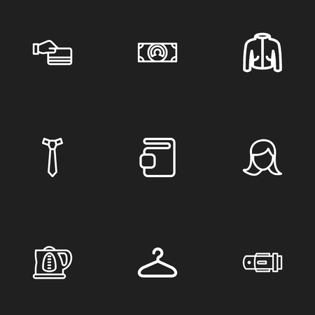 waistband: Set Of 9 Editable Shopping Icons. Includes Symbols Such As Hanger, Credit Card, Currency And More. Can Be Used For Web, Mobile, UI And Infographic Design.