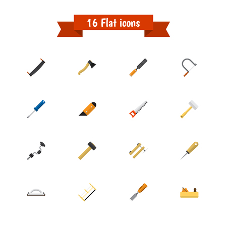 Set Of 16 Editable Equipment Icons. Includes Symbols Such As Clamp, Knife, Boer And More. Can Be Used For Web, Mobile, UI And Infographic Design.