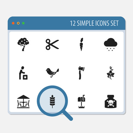 Set Of 12 Editable Planting Icons. Includes Symbols Such As Garden Seat, Cut, Blossom And More. Can Be Used For Web, Mobile, UI And Infographic Design.