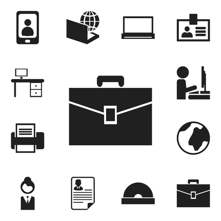 Set Of 12 Editable Office Icons. Includes Symbols Such As Authentication, Printing Machine, Portfolio And More. Can Be Used For Web, Mobile, UI And Infographic Design.