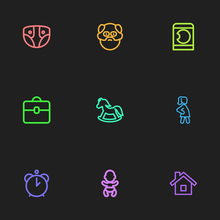 Set Of 9 Editable Relatives Icons. Includes Symbols Such As Home, Infant, Pregnancy And More. Can Be Used For Web, Mobile, UI And Infographic Design.