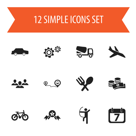Set Of 12 Editable Mixed Icons. Includes Symbols Such As Lorry, Cutlery, Date Block And More. Can Be Used For Web, Mobile, UI And Infographic Design.