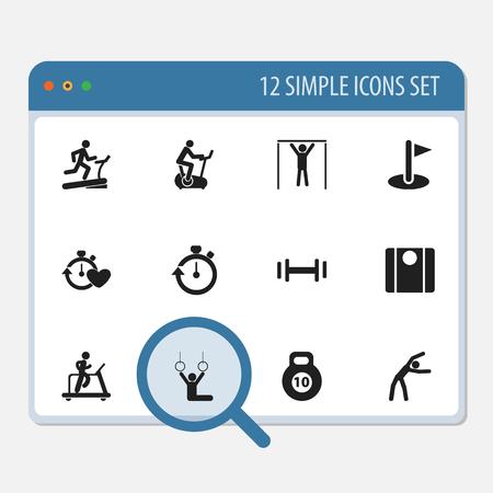 Set van 12 bewerkbare levensstijl pictogrammen. Bevat symbolen zoals circuittraining, balans, joggen en meer. Kan worden gebruikt voor Web, Mobile, UI en Infographic Design.