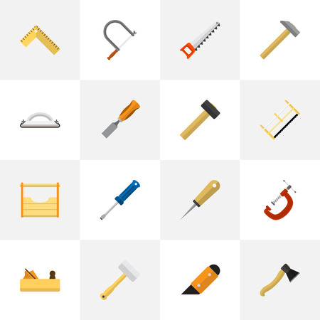 Set Of 16 Editable Tools Icons. Includes Symbols Such As Bodkin, Malleus, Tool And More. Can Be Used For Web, Mobile, UI And Infographic Design.