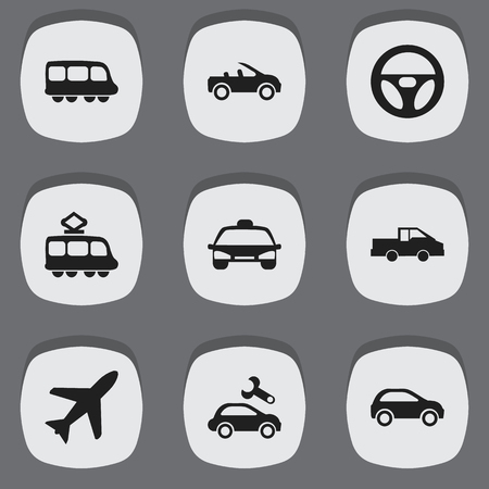 Set Of 9 Editable Transportation Icons. Includes Symbols Such As Taxi, Repairing, Motorbus And More. Can Be Used For Web, Mobile, UI And Infographic Design.
