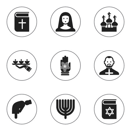 persuasion: Set Of 9 Editable Religion Icons. Includes Symbols Such As Religious Sewn, Pope, Hanukkah And More. Can Be Used For Web, Mobile, UI And Infographic Design.